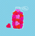 the valentine day card with hearts of paper vector image vector image