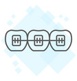 tooth with braces thin line icon stomatology vector image vector image