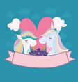 unicorns flowers heart vector image vector image