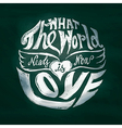 what world needs now is love lettering art in vector image