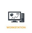 workstation icon on white vector image vector image
