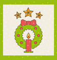 wreath candle star bow decoration christmas vector image vector image