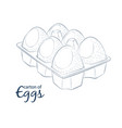 6 chicken eggs in carton icon cartoon food vector image
