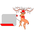 A Christmas deer with a big blank paper vector image vector image
