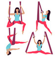 a young girl performs yoga exercises in a hammock vector image vector image