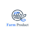 agriculture or farm product eco food circle stamp vector image vector image