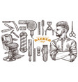 barbeshop tools and vintage accessories vector image vector image
