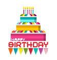 birthday cake with candles and colorful flags vector image vector image