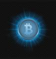 blue bitcoin symbol vector image