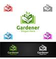 book gardener logo with green garden environment vector image vector image