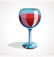 cartoon glass of red wine vector image vector image
