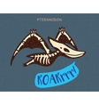 Cartoon pteranodon dinosaur fossil vector image vector image