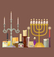 celebration glowing religion candles birthday vector image vector image