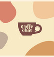 coffee chat emblem logo cup handle speech bubble vector image