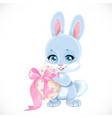 cute easter babunny hold egg isolated on a vector image vector image