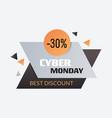 cyber monday big sale sticker advertisement vector image vector image