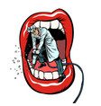 dentist jackhammer drilling teeth isolate on vector image