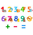 educational numbers set with cartoon animals vector image