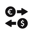 euro and dollar exchange icon vector image vector image