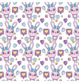 female rabbit with hearts and stars background vector image