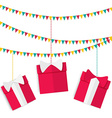 Festive garland with presents in red boxes with vector image vector image