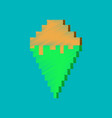 flat shading style icon pixel ice cream cone vector image vector image