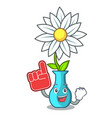 foam finger mascot beautiful flower in vase vector image