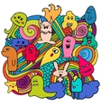 Funny monsters graffiti Hand drawn sketch art vector image vector image