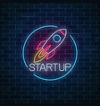 glowing neon sign of business project startup vector image vector image