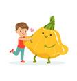 happy boy having fun with fresh smiling squash vector image vector image