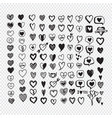hearts icon set hand drawn vector image vector image
