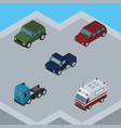 isometric automobile set of first-aid suv truck vector image vector image