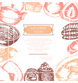 japanese food - color hand drawn card vector image vector image