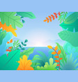 landscape with leaves and plants floral vector image vector image