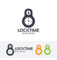 lock time logo design vector image vector image