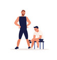 man training in sport gym with coach trainer vector image