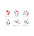 medical specialization symbols set orthopedics vector image vector image