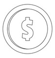 one dollar icon outline style vector image