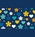 polka dot floral and hearts seamless pattern vector image