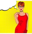 Pop art cute fashion woman with bubble sign vector image