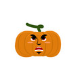 pumpkin evil angry emoji halloween vegetable vector image