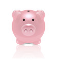 realistic 3d pink retro piggy bank closeup vector image