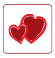 Red hearts icon Brush texture shape vector image vector image