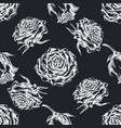 seamless pattern with hand drawn chalk roses vector image