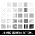 Set of basic geometric patterns Memphis style vector image vector image