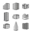 set of isometric building icons isolated on white vector image