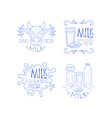 set of sketch labels for dairy production vector image