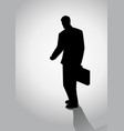 silhouette of businessman walking vector image vector image