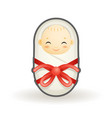 swaddled newborn cute smiling happy sleeping baby vector image vector image