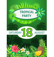 tropical party theme banner summer placard vector image